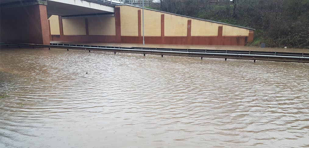 Flooded section of A555