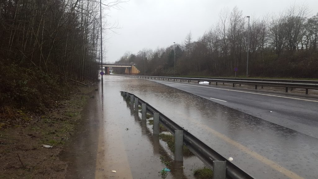 The flooded area of A555