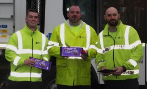 waste collectors with chocolate