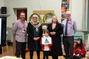 school prize winner with the mayor