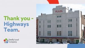 wording - thank you highways team, image of the stockport plaza - a historical theatre