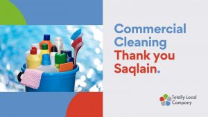 wording - commercial cleaning - thank you Saqlain, image of cleaning products in a bucket
