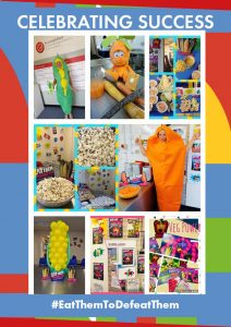 A montage of bright images of food from a variety of schools, including two images of one of our team dressed in a sweetcorn and also a carrot costume