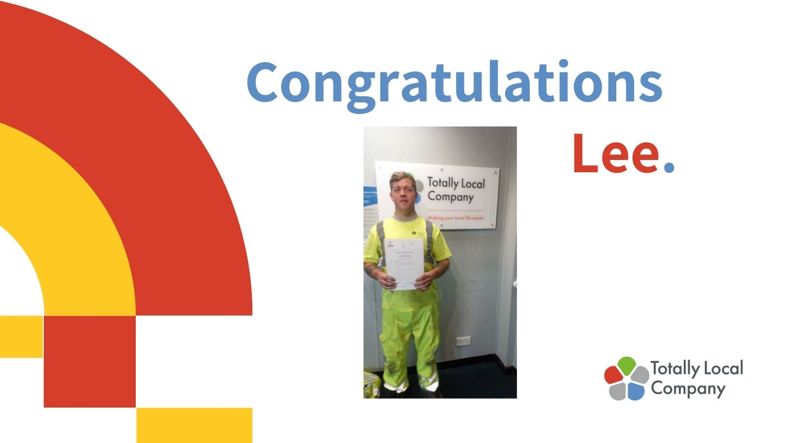 wording - congratulations Lee, image of Lee holding his certificate