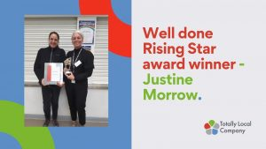 wording - well done rising star award winner justine morrow - with image of justine and her senior manager holding the award and certificate