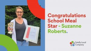 wording congratulations school meals star - Suzanne Roberts, image of Suzanne holding her certificate and award.