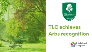 picture of trees and the Arboricultural Association logo along with wording TLC achieves Arbs recognition