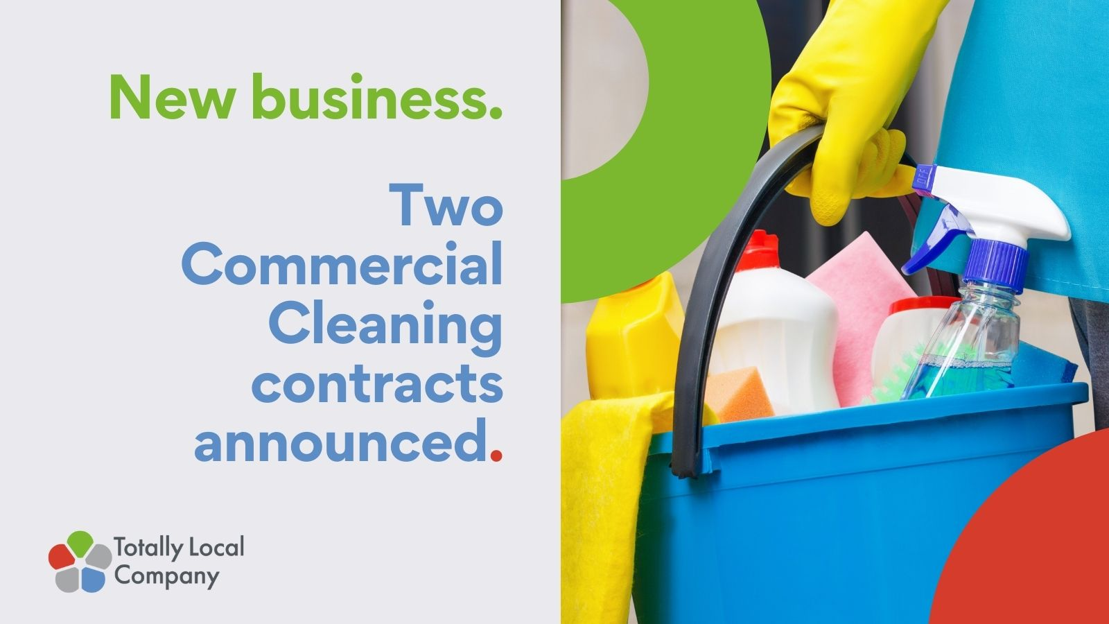 image of personal holding a bucket with cleaning products in it, along with wording confirmed the new business win