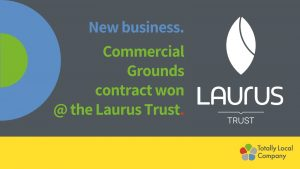 wording - new business. Commercial Grounds contract won @ the Laurus Trust with Laurus trust logo